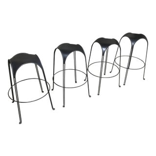 1980s Modern Iron Barstools With Black Leather Tops- Set of 4 For Sale