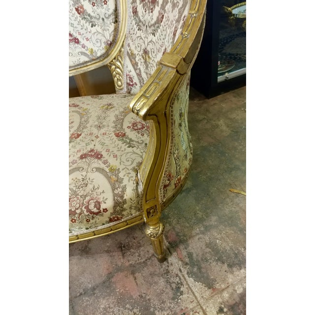 Late 19th Century 19th Century Beautiful Louis XV Carved Gilt & Tapestry Canopy Sofa For Sale - Image 5 of 10