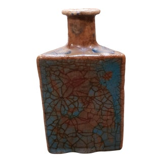 19th Century Iznik Pottery Triangular Faceted Floral Motifs Vase For Sale