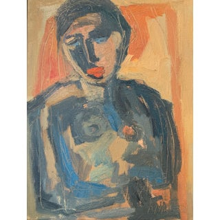 """Abstract Portrait """"Figure Study Portrait With Blue Eyes III """" by Anne Darby Parker For Sale"""