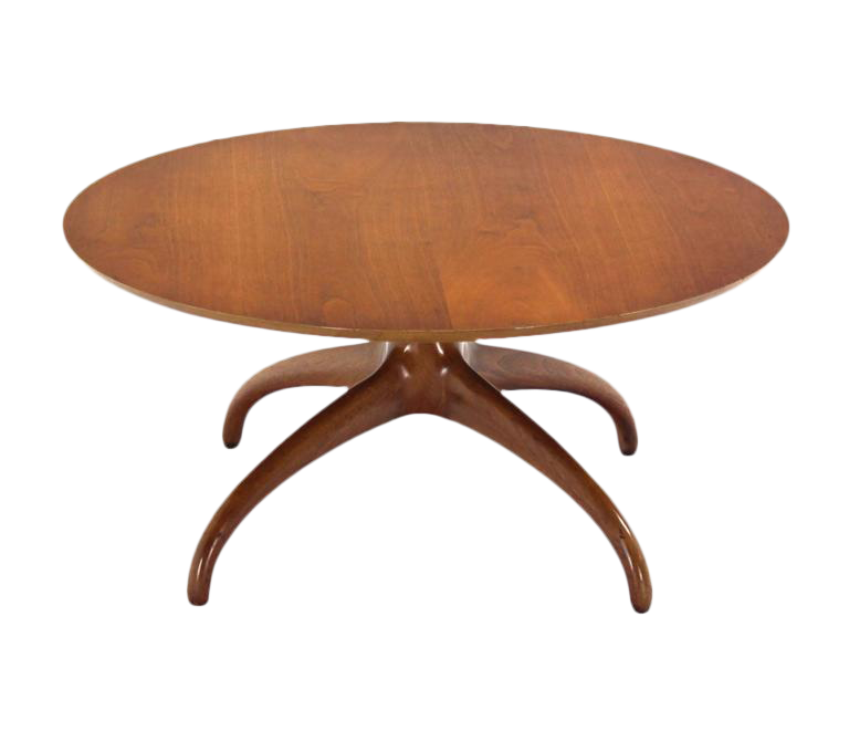Sculptural Solid Walnut Base Round Coffee Table By Henredon Spider Slay Leg    Image 1 Of