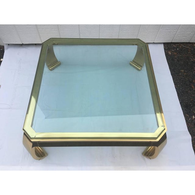Metal 1970's Asian Inspired Brass & Glass Coffee Table by Mastercraft For Sale - Image 7 of 12