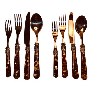 1950s Eme 18/10 Italy Tortoise Shell Napoleon Stainless Steel Flatware - Set of 8 For Sale