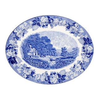 Blue and White Serving Platter by Wood & Sons For Sale