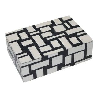 Lidded Box Inlaid Bone in Black & White Design For Sale