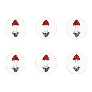 Contemporary Amanita Muscaria Mushroom Coasters- Set of 6