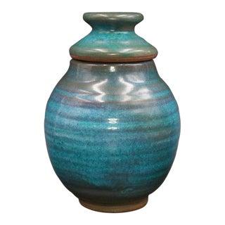 1977 Harding Black Turquoise Ginger Jar For Sale
