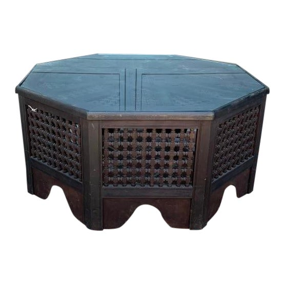 Vintage Anglo African Octagonal Black Wood and Glass Coffee Table For Sale