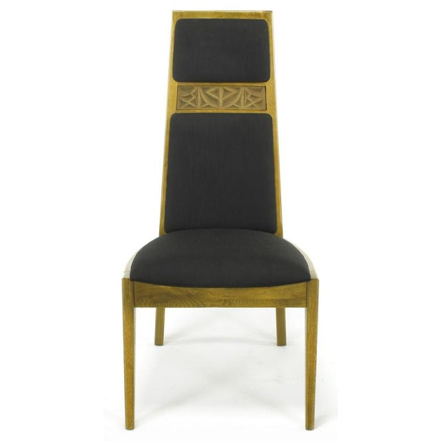 Kroehler Mfg. Co. Six Sculpted Ash Tall Back Kroehler Dining Chairs For Sale - Image 4 of 10