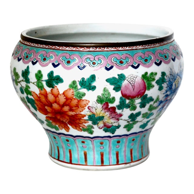19th Century Chinese Famille Rose Cachepot For Sale