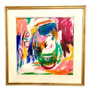 Colorful Abstract in Bamboo Frame For Sale