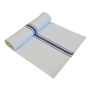 "French Country Farmhouse White & Blue Striped Table Runner 110"" Long For Sale"