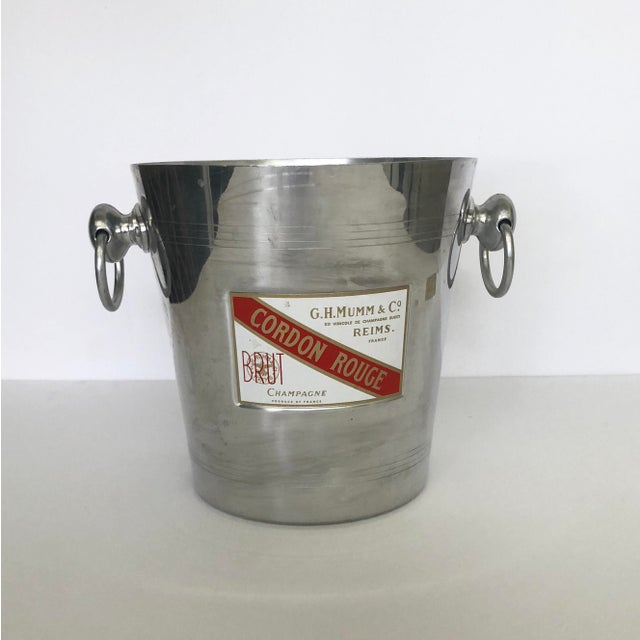 "Vintage French champagne aluminum ice bucket. A classic French bistro touch to add to your bar. Has ""Cordon Rouge"" label...."