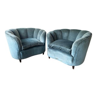 Gio Ponti Style Scallop Lounge Chairs - a Pair For Sale
