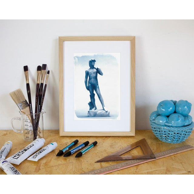 Illustration Michelangelo's David Low-Poly Sculpture, Cyanotype Print on Watercolor Paper For Sale - Image 3 of 4