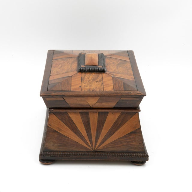 English Traditional Lovely Pagoda Shape Box With Sunburst Marquetry, English, Circa 1850. For Sale - Image 3 of 11