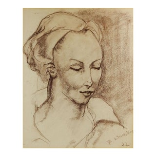 Chalk Portrait Study Drawing by B. Woosley For Sale