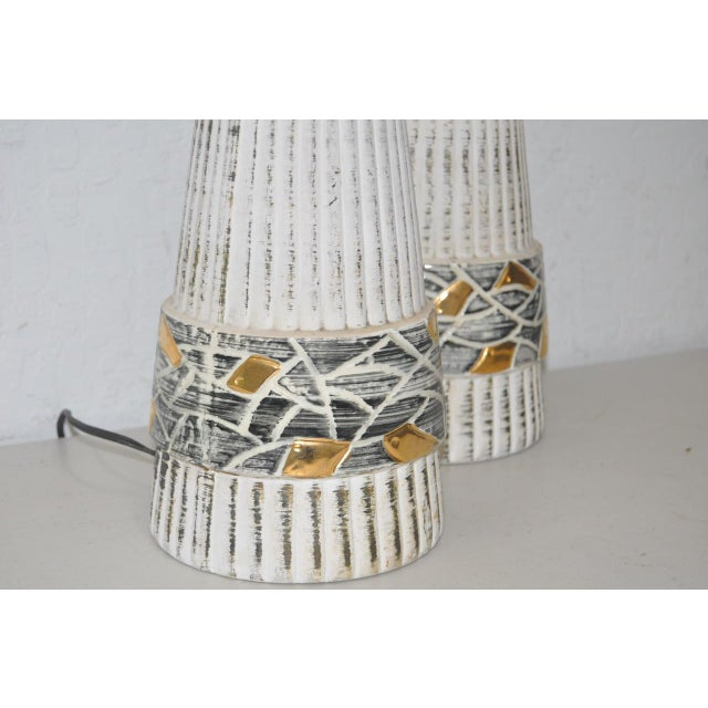 Mid-Century Glazed Ceramic Table Lamps - A Pair - Image 3 of 4