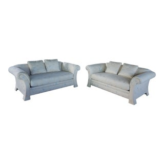 White Floral Loveseats - A Pair For Sale