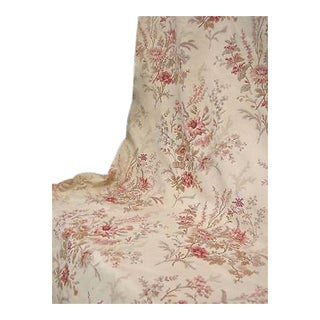 Antique 1910s French Linen Floral Botanical Curtain Fabric For Sale