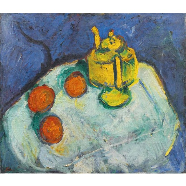 Blue Kay Christensen Still Life With Teapot 1922 For Sale - Image 8 of 8
