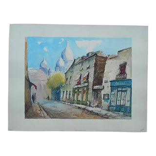 Original Signed Vintage Painting,-Montmartre-Paris For Sale