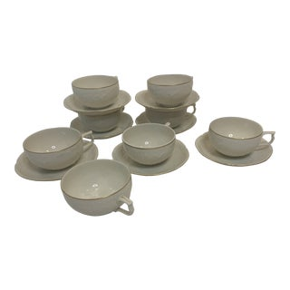 1980s Rosenthal Germany Sanssouchi Tea Cups & Saucers, 15 Pieces For Sale