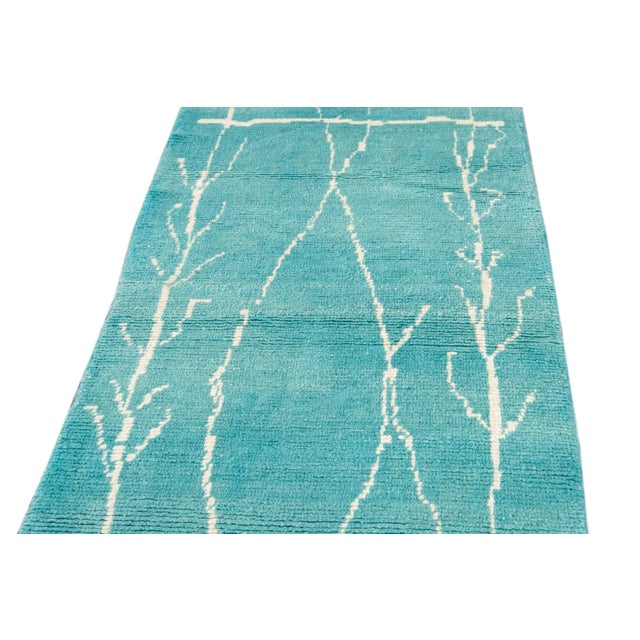 Teal 21st Century Modern Moroccan Style Wool Runner For Sale - Image 8 of 9