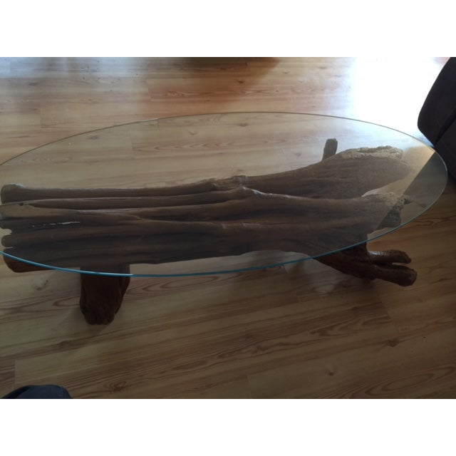 Driftwood Base Coffee Table With Glass Top - Image 6 of 9