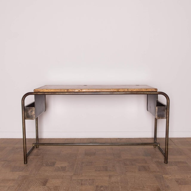 1930's Belgian School Desk With Metal Base & Wood Top. Desk has two packets on both sides.