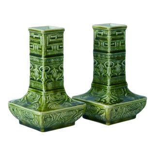 19th Century French Choisy Le Roi Green Porcelain Vases - a Pair For Sale
