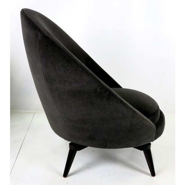 Mid-Century Modern Velvet Swivel Egg Chairs - a Pair For Sale - Image 3 of 6