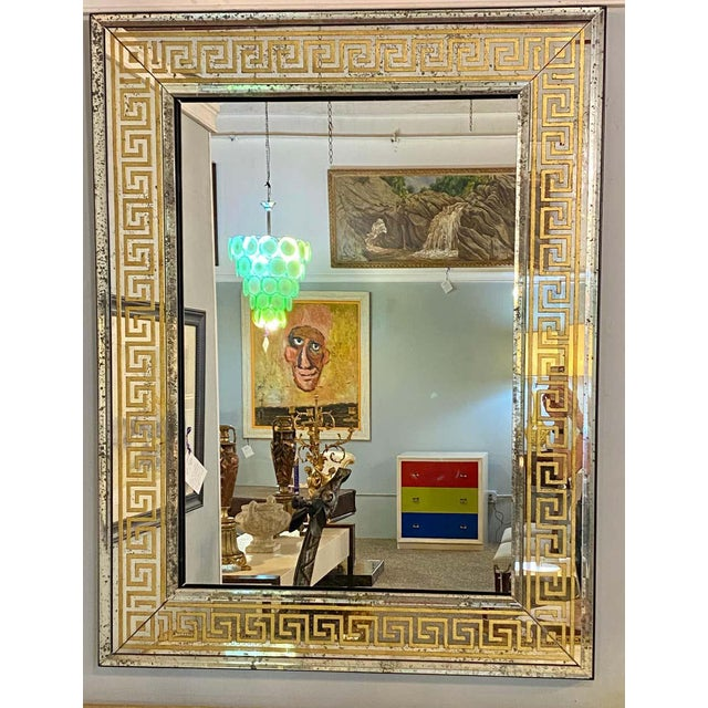 Hollywood Regency Mirrors Gilt Gold Greek Key Design Wall, Console Pier a Pair For Sale In New York - Image 6 of 13