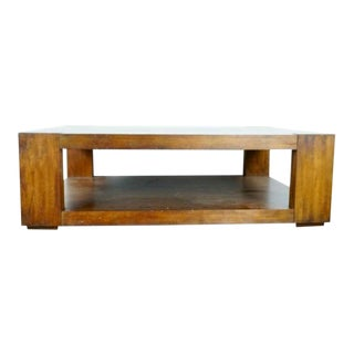 Contemporary Crate & Barrel Two Tier Wood Coffee Table