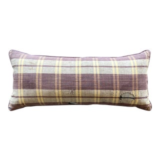 Japanese Plaid Lumbar Gromwell Root Pillow For Sale