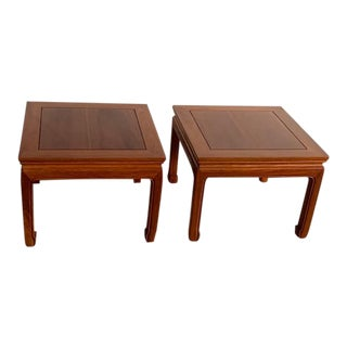1970s Ming-Style Natural Rosewood Square Side Tables - a Pair For Sale