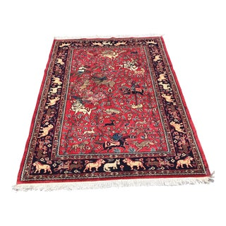 Old Persian Pictorial Rug - 4′ × 5′10″ For Sale