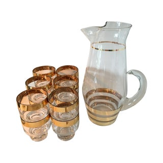 Hollywood Regency Glass Pitcher and 12 Glasses For Sale