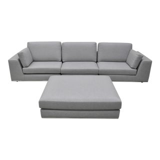Contemporary Gray Modular Sectional Sofa and Ottoman For Sale