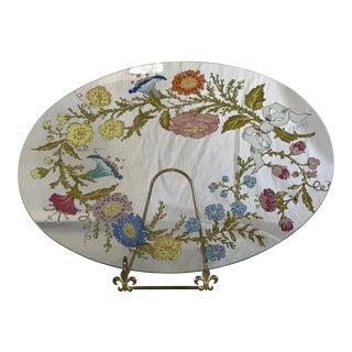 Mid Century Modern Dorothy Thorpe Spring Flower Oval Glass Serving Platter For Sale