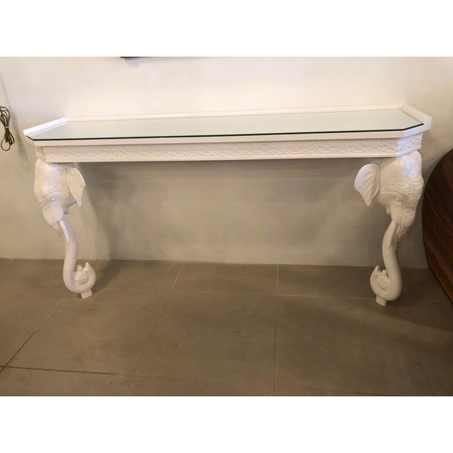 Vintage Gampel & Stoll White Lacquered Elephant Wall Console Table For Sale - Image 11 of 12