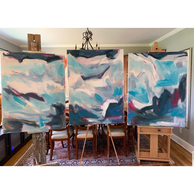 """High Seas"" by Trixie Pitts Large Triptych Abstract Oil Painting For Sale - Image 11 of 13"