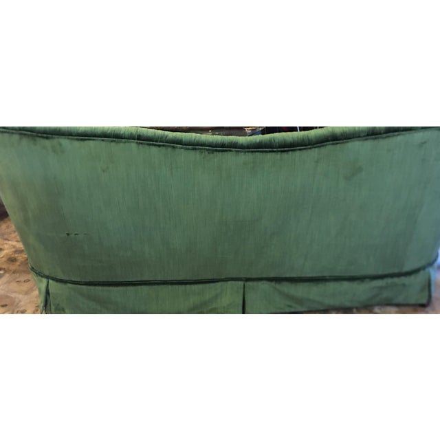 1960s Rolf Edward Broms - Emerald Green Silk Velvet Hollywood Regency Sofa By For Sale - Image 5 of 8