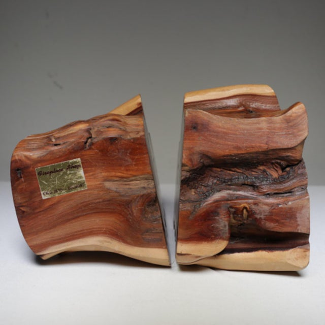 1970s Live Edge Burl Wood Bookends - A Pair - Image 4 of 7