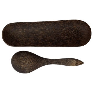 Black Palm Wood Spoon & Tray For Sale