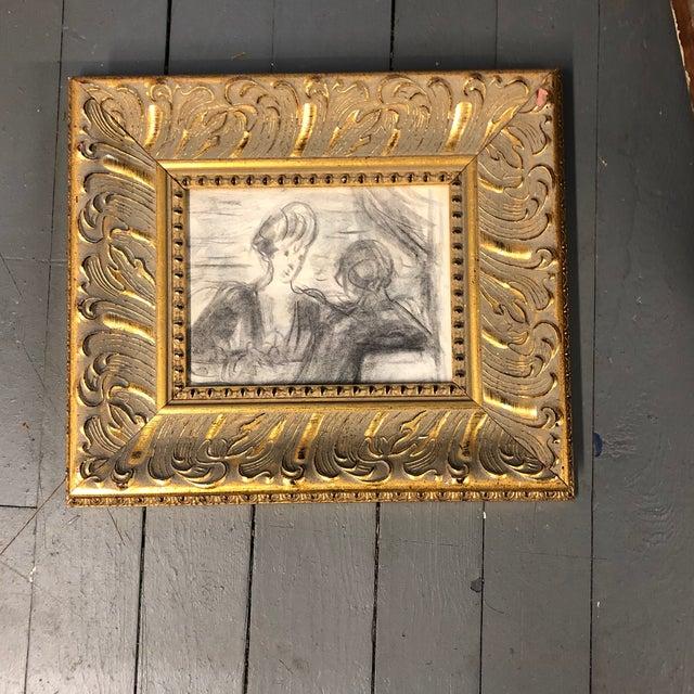 1940s Original Vintage Charcoal Figure Study Charcoal Sketch Ornate Frame For Sale - Image 5 of 5