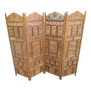 Anglo Indian Teak Carved Folding Screen For Sale