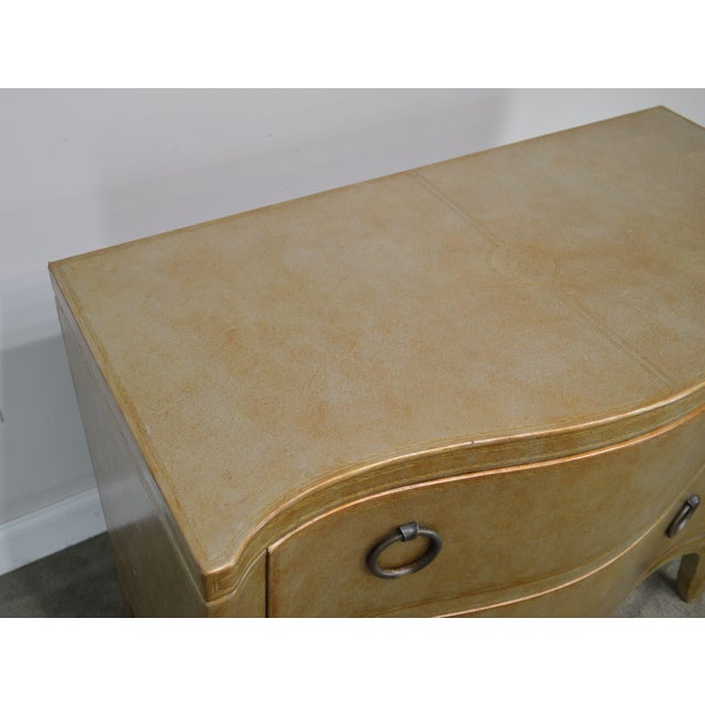 Henredon Hollywood Regency Style Serpentine Silver Leather 2 Drawer Chest For Sale - Image 9 of 13