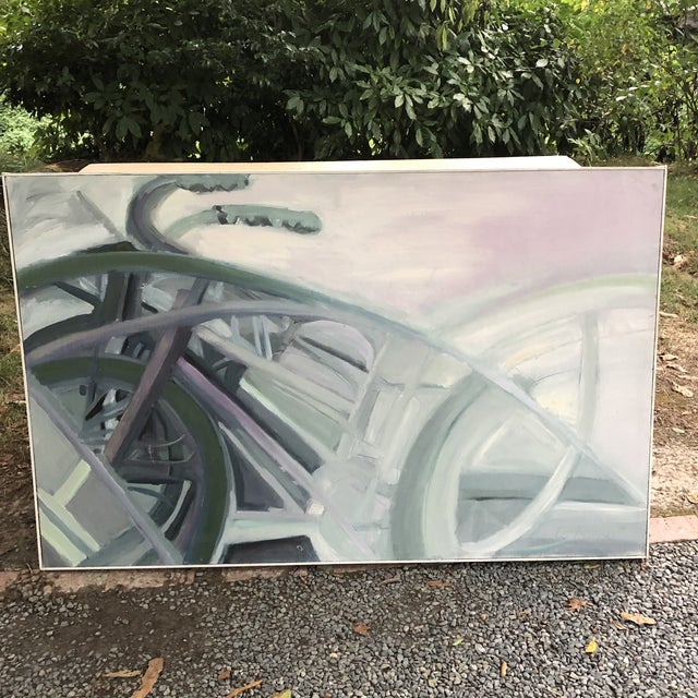 Vintage abstract bike painting signed 1974. Lo Russo. Measures 57.25 inches wide by 36 1/8 inch tall by 1.5 inches deep.