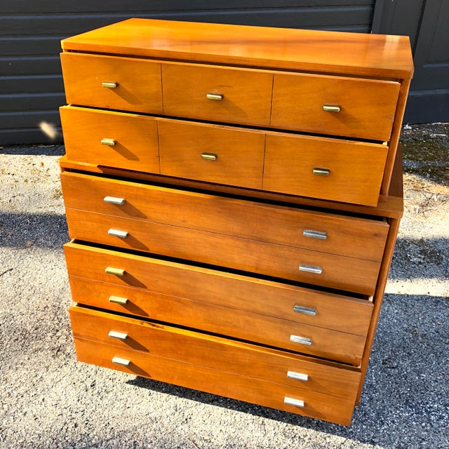 Drexel 1960s Mid Century Modern Drexel Mahogany High Boy Dresser For Sale - Image 4 of 10